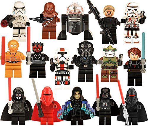 DESO 16 Pcs Lego-Compatible Figures Cake Topper Party - Lego Star Wars Party Favors