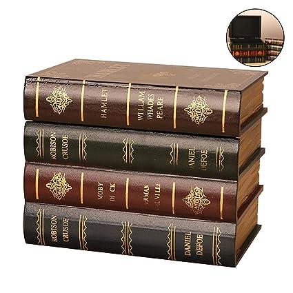flower205 Sujetalibros de Madera de Estilo de Libro Antiguo con Caja de Almacenamiento Oculta, Libro