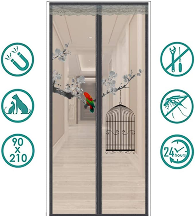 TYP Mall Cortina Mosquitera Magnética para Puertas Anti Insectos Moscas Y Mosquitos con Imanes Cierre Automático Y Cinta Mágica Adhesiva para Puertas Correderas/Balcones/terraza,Bblack,100x200cm: Amazon.es: Hogar