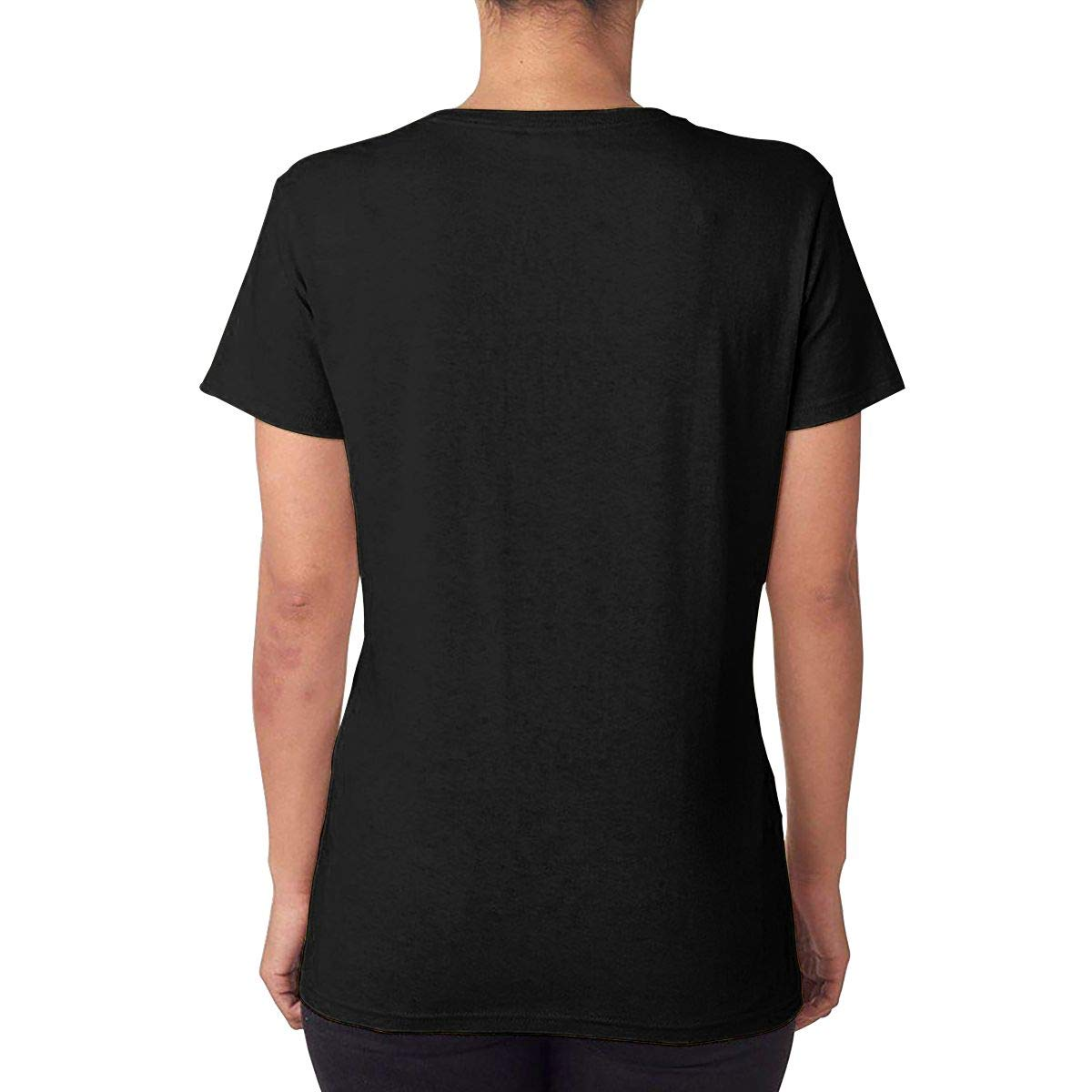 T-Shirts for Summer Iration 4 Womens Scoop Neck Short Sleeve Tee Tops Cotton Printed Casual Tees Black