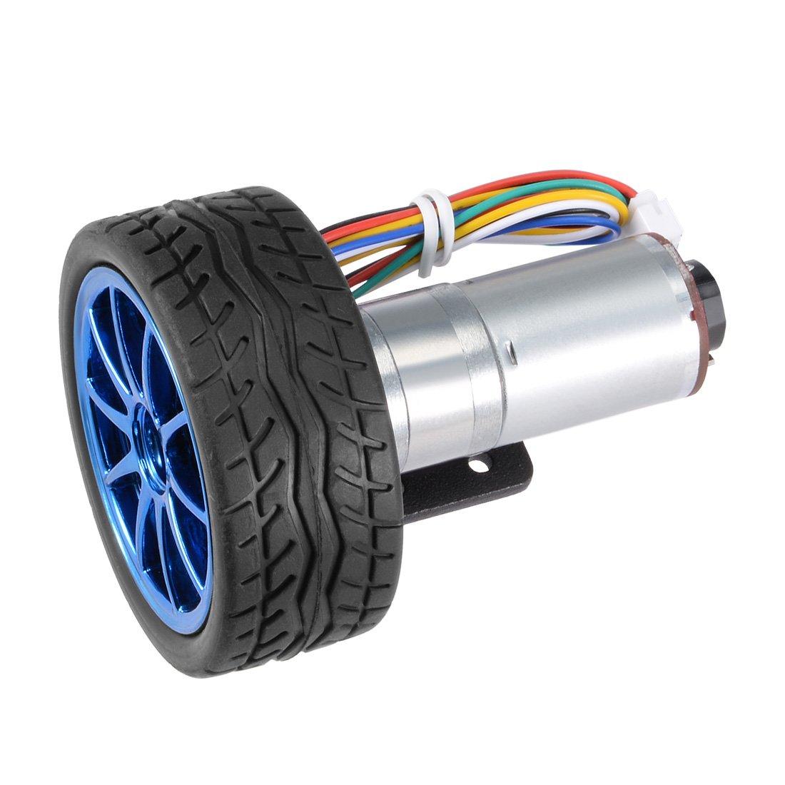 sourcingmap DC 24V 180RPM Encoder Gear Motor with Mounting Bracket 65mm Wheel Kit 1 set for Smart Car Robot DIY a17092900ux0524