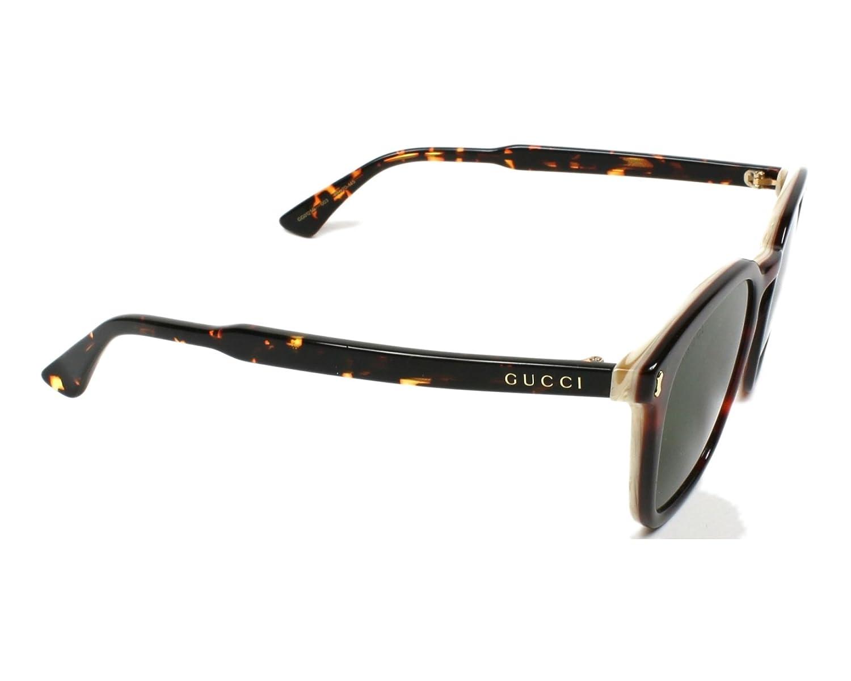 b04be58dea325 Amazon.com  Sunglasses Gucci GG 0125 S- 003 003 AVANA   GREEN   AVANA   Clothing