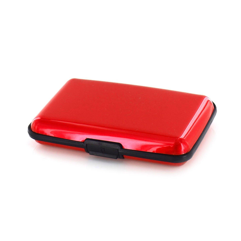 Blocco RFID carta di credito di debito passaporto impermeabile durevole ultra sottile e resistente in alluminio di furto di identità, previene Electronic pick-pocketing,, pagamento Frode, Black (Nero) - GPCT222 T222(Black)