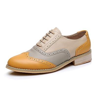 b1e1183181de5 Amazon.com   Women Oxford Shoes Flat Genuine Leather Casual Vintage ...