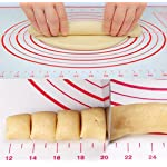 """STONEKAE Silicone Baking Mat, Thicker Non-Slip Board with Measurements for Rolling Dough, Fondant, Pie, Cookie.16""""x24"""" Large Non-Stick + Pastry Brush 8 COST EFFECTIVE AND HEALTHY» 100% food grade silicone, Don't worry about the food made on it will be harmful to the body.It is safe to use at a temperature of -45 degrees Fahrenheit to 450 degrees Fahrenheit and does not produce unpleasant chemical smell. DOUBLE THICKNESS,DURABLE AND LASTING» Thickness of the Silicone Pastry Mat is 0.075 inch and it's much thicker and durable. so it is very hard to crinkle and move as you roll out the dough.The mat is designed to be 16*24inch.It has a larger area to knead, make biscuits, make pizza and all related work. With a brush NON-STICK & EASY TO CLEAN» This mat is made of food grade silicone,so you will enjoy the best NON-STICK baking mat.No more scrubbing! Easy to wipe clean with warm soapy water and store it rolled in a drawer. Also dishwasher safe.When you don't use it, you can roll it up and store it."""