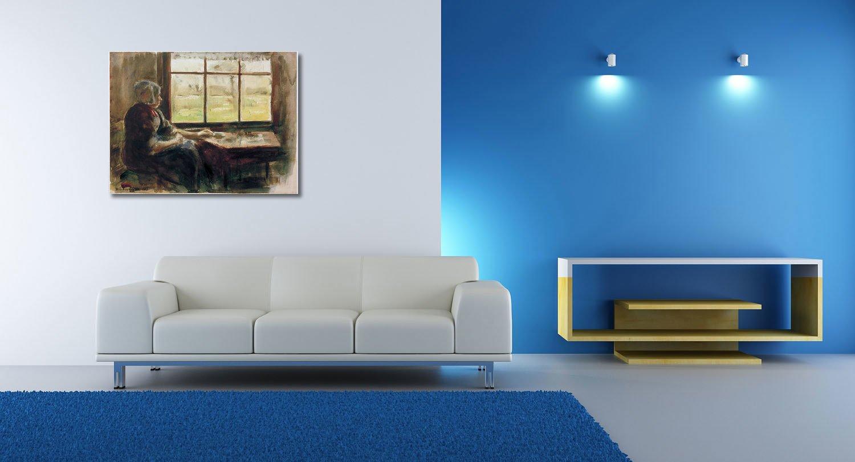 Max Liebermann, Holländische Frau am Fenster - 40x30 cm - Textil ...