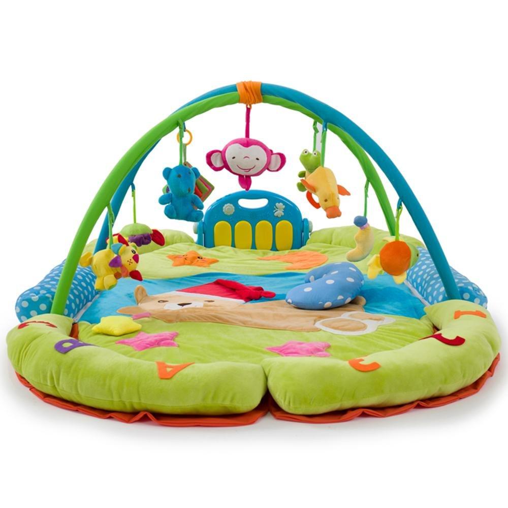 LINAG Gym Actividad Baby Musical Mat Gimnasio-piano Pataditas Actividades Piso Educación Juguetes Centros Infantil Mat Juegos Educativos Aptitud Rastreo Almohadilla Infancia , Verde