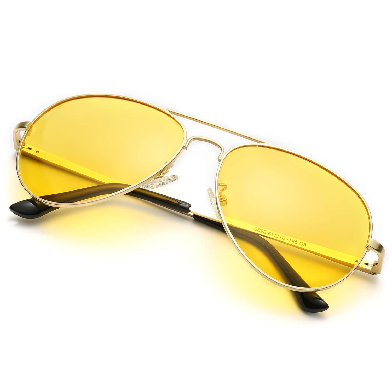 Polarizzate Occhiali da Sole Aviatore Visione Notturna HD Lenti Gialle Antiriflesso Montatura in Metallo -100% UVA/UVB Protezione