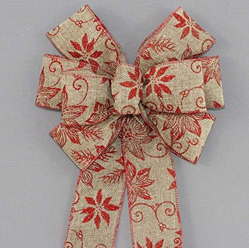 Natural Red Sparkle Poinsettia Rustic Wreath Bow - available in 2 sizes ()