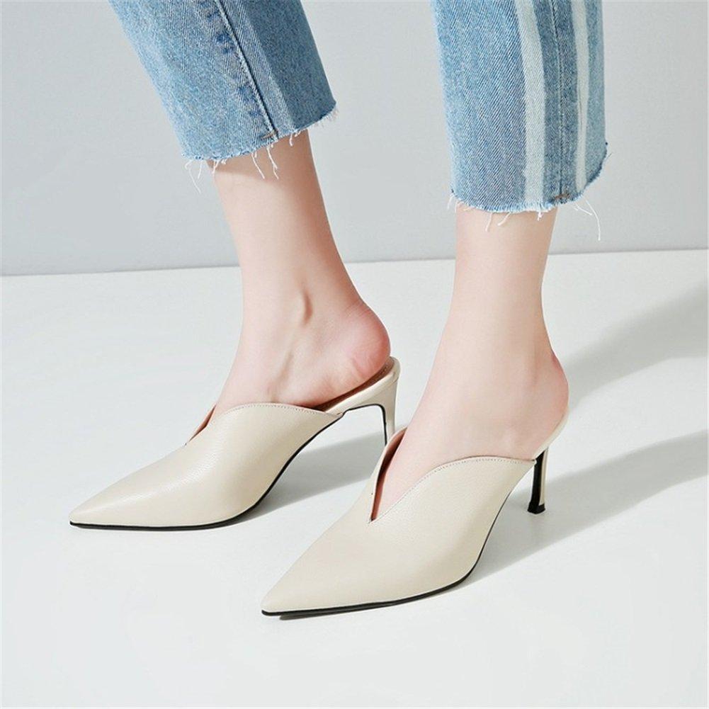 Exing Damenschuhe Schuhe PU Frühling Herbst Neue Zwei Abnutzungs Damen Weiß Schuhe Wies, Stiletto High Heels Damen Slipper Schwarz Weiß Damen Ein 547fff