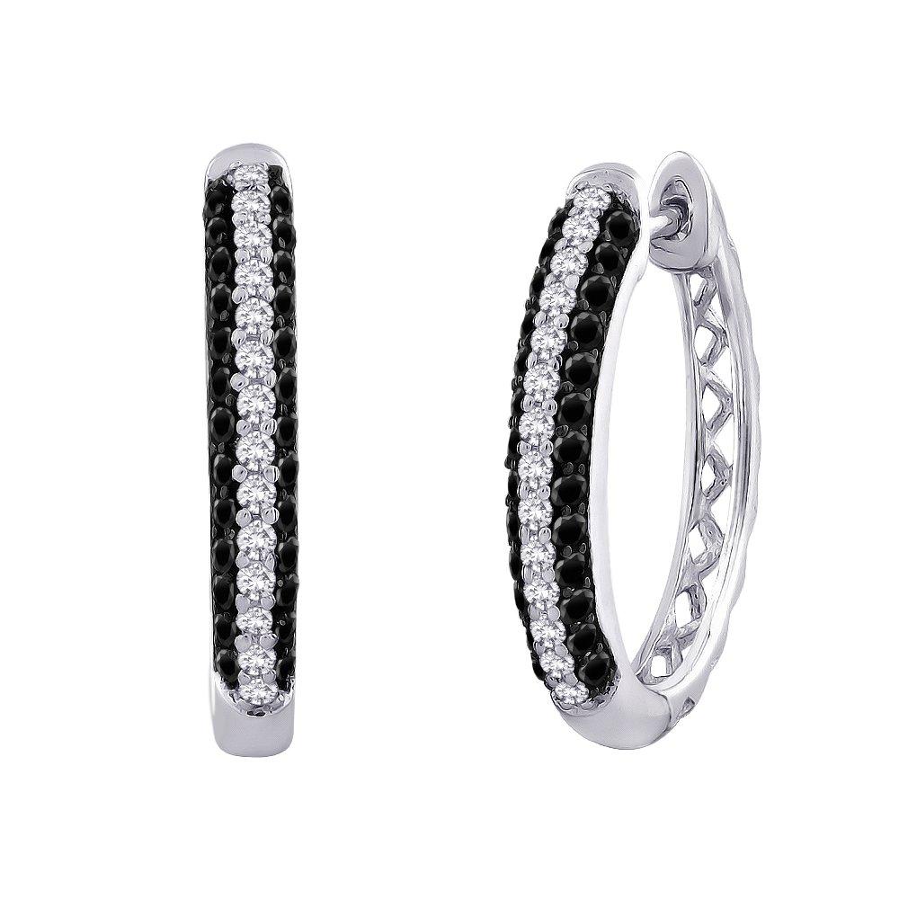 Black and White Diamond Hoop Earrings in 10K White Gold (3/4 cttw)