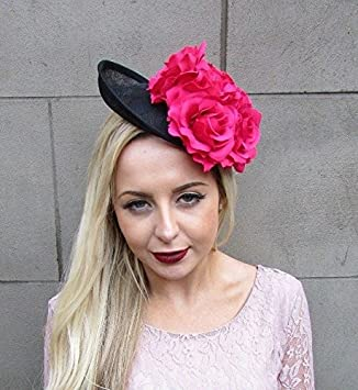 Large Hot Pink Rose Flower Black Saucer Disc Fascinator Hat Races Headband  4992 4715a0630de