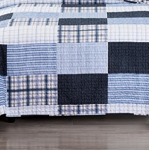 Finely Stitched Quilt Coverlet Set Soft Bed Spread Oversized Plaid Stripe  Print Patchwork Pattern Navy Light Blue Lightweight Reversible