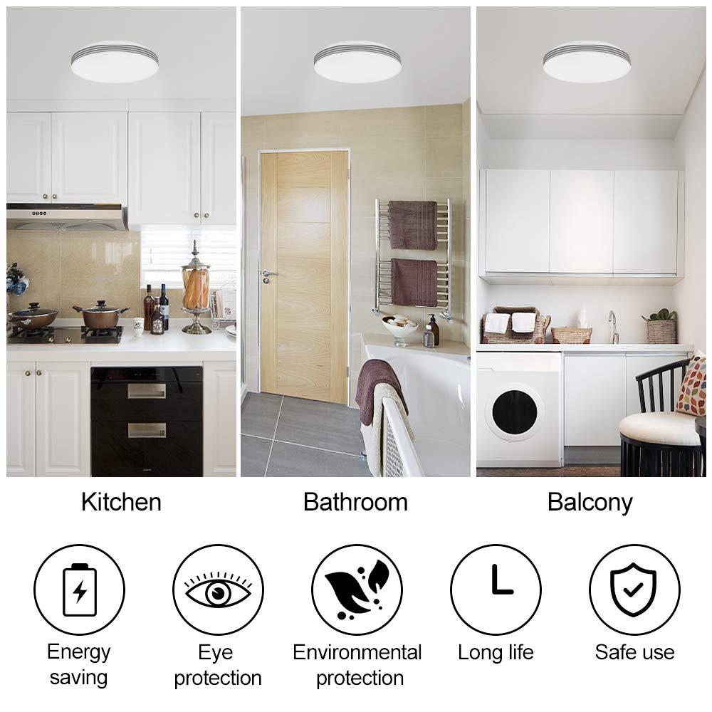 LED Luz de sensor de movimiento 18W 1200lm Sensor de Movimiento de Radar Luz de techo 6500K Blanco Fr/ío 140 /Ángulo de haz Luz/de/techo/con/sensor/de/movimiento para Pasillo Garaje Cocina Sala de estar