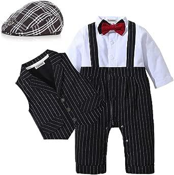 Lausana Baby Boy Gentleman Outfits Suits Long Sleeve Jumpsuit + Vest +Berets + Bow Tie Infant Pant Sets 4 pcs