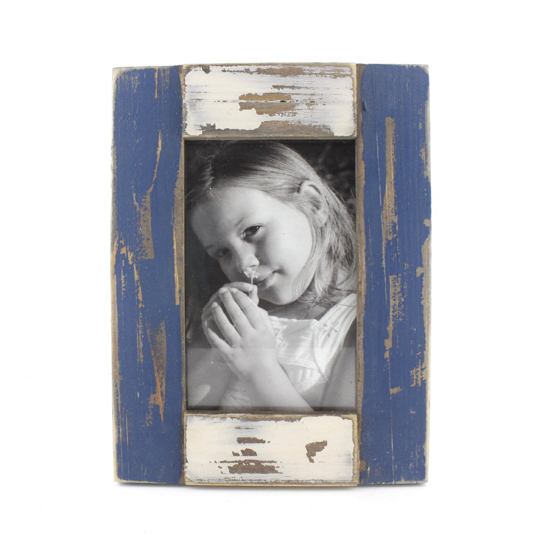 Pure Light Blue 4x6 Inch Simple Rectangular Wood Desktop Family Picture Photo Frame with Glass Front