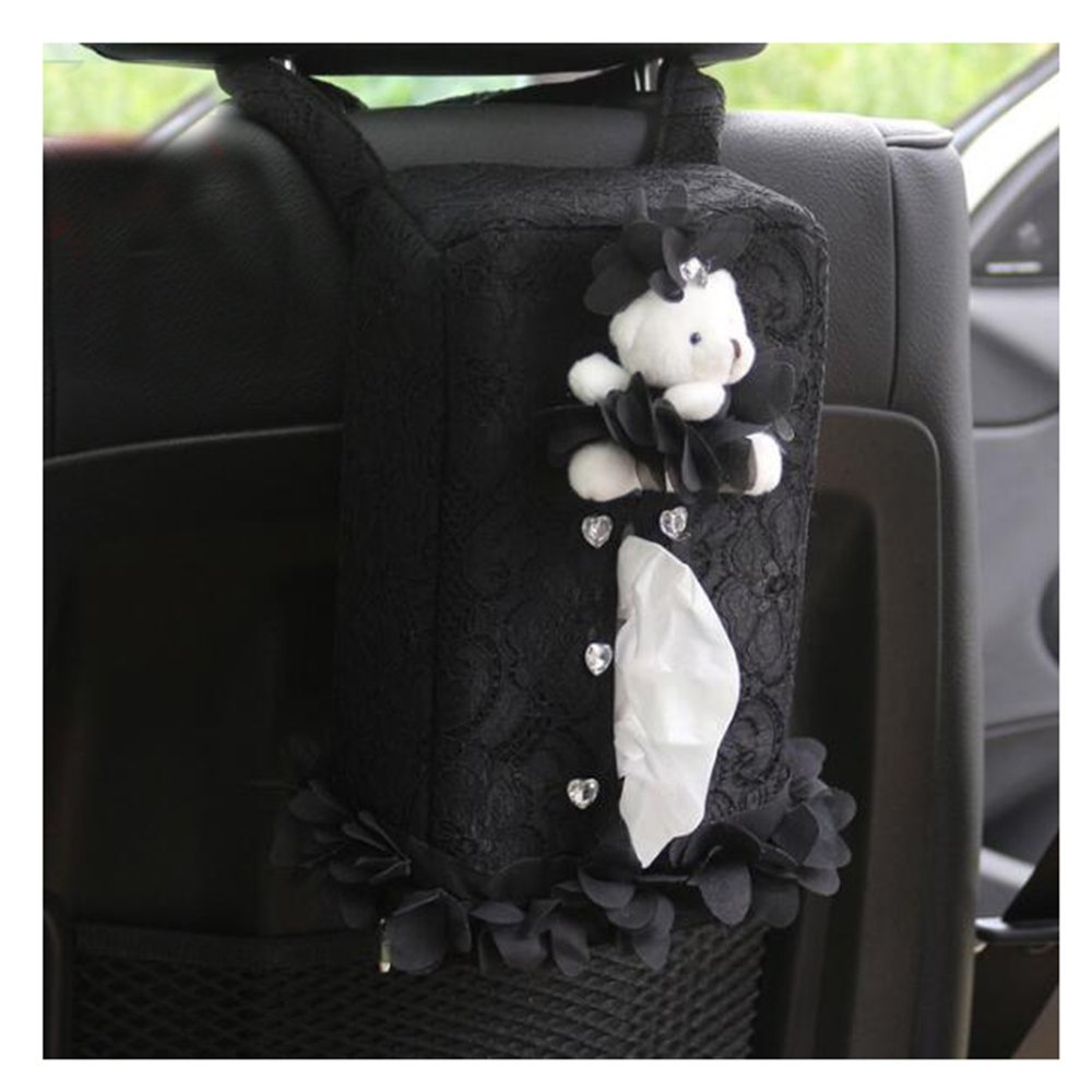 LuckySHD Car Rectangle Hanging Black Towel Box Animal Tissue Box Cover Holder Storage
