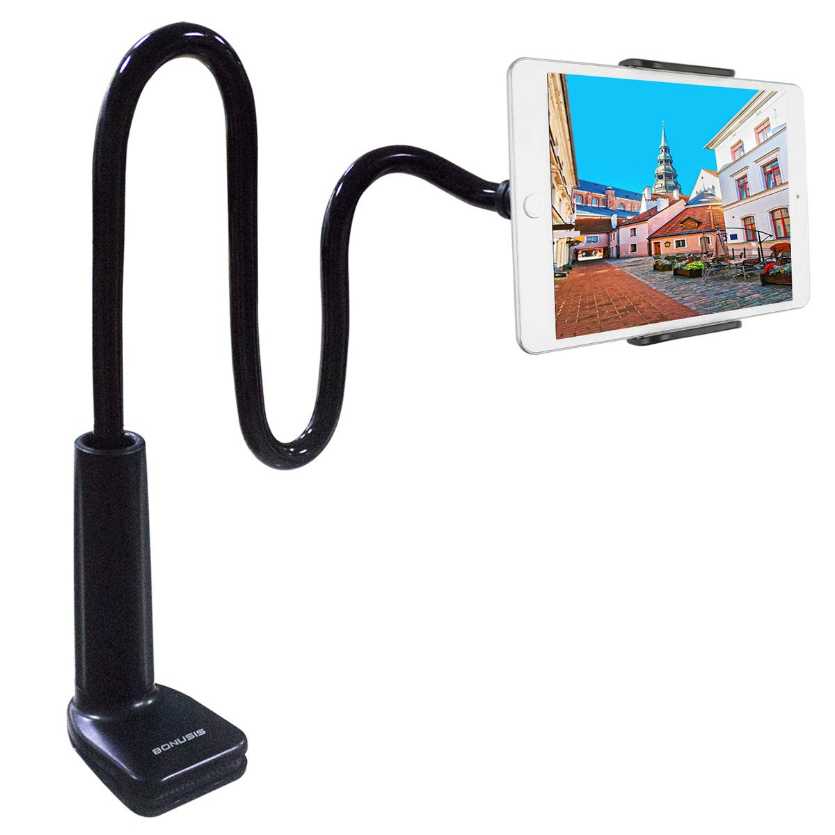 Tablet Holder, BONUSIS Cell Phone Holder Gooseneck Tablet Stand Holder Cellphone Stand Bolt Clamp with Bracket for Android Devices 4-10.6 Inches 360 Degree Rotating 27.5 Inches Flexible Arm [Black]