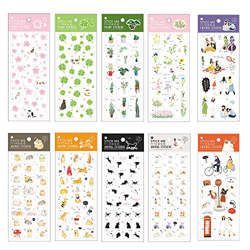 (Stationery Sticker Set (10 Sheets) Kawaii Animal Succulent Potted Plant Cat Sakura Clover Hamster Shiba Inu Rabbit Bunny Floral Scrapbooking Planner Journal Diary Decorative DIY Craft Label (A))