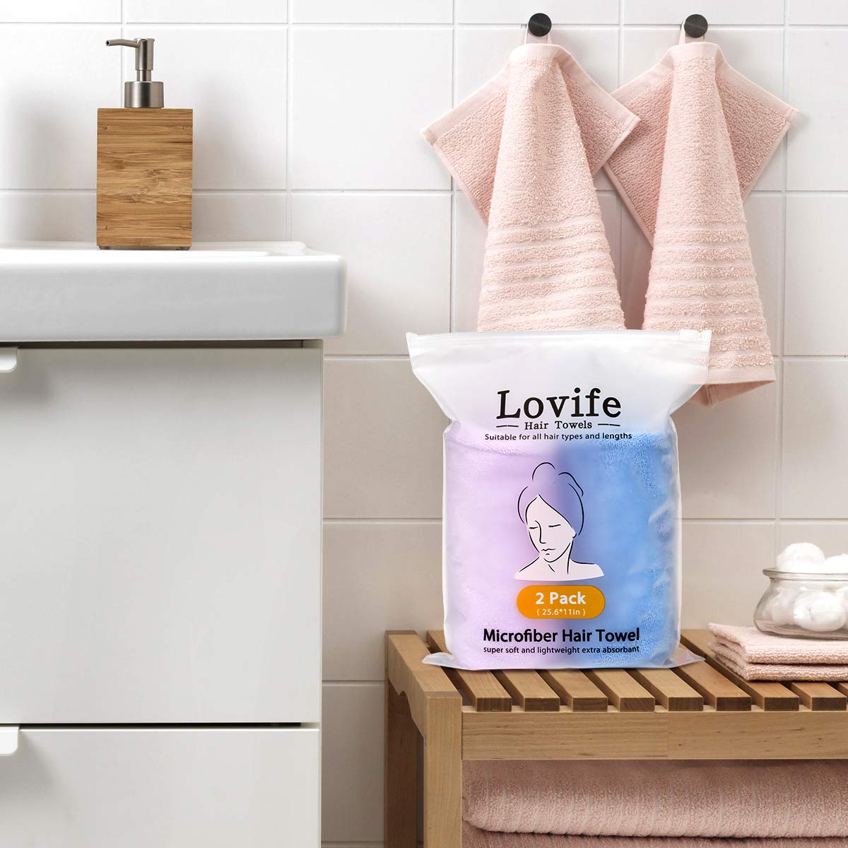 Lovife Microfiber Hair Towel Wrap 2 Pack Quick Drying Towels Hair Drying Turban Towel with Button Absorbent Cap for Long & Curly Hair Anti-Frizz