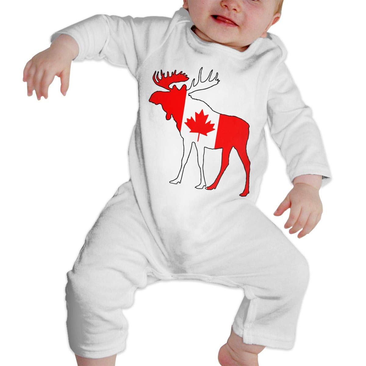 A1BY-5US Infant Babys Cotton Long Sleeve Canada Flag Moose Baby Clothes One-Piece Romper Clothes