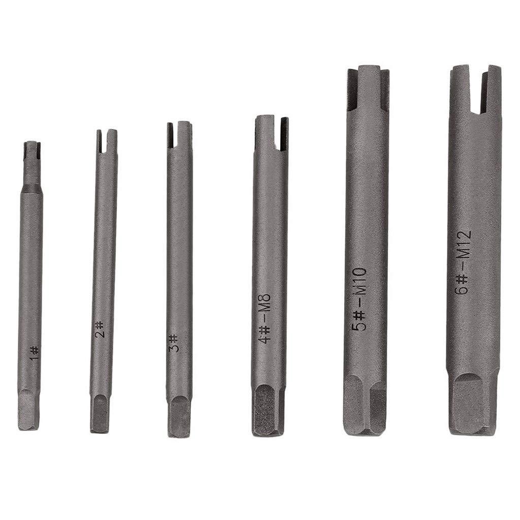 Weisfe78 Tap Extractor 4 Flute Broken Head Screw Remover Stripped Tap Extractor Set Steel 3 Types 5//6//9//10pcs