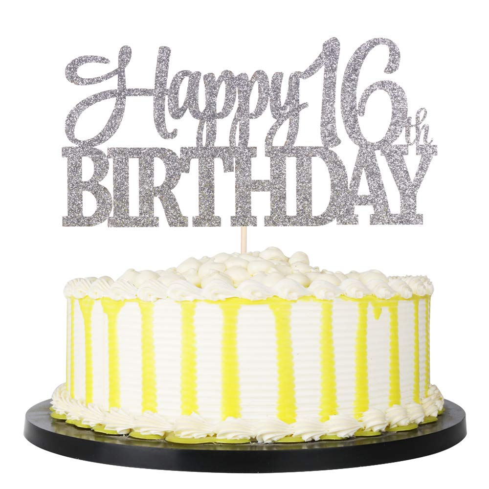 PALASASA Sivler Glittery Happy 16th Birthday Cake Topper,Hello 16,16 Birthday -Anniversary Party Cake Decorations (16th)