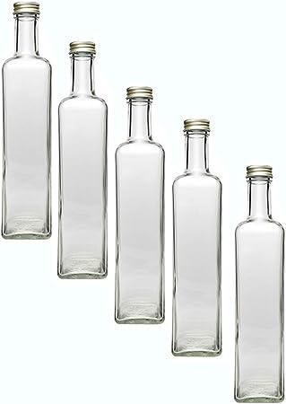 Juego de botellas de cristal (con rosca, Oro, 4piezas, cantidad de relleno 500ml | maras botellas licor botellas Inserte fácilmente su propio aceite o a tus propios schnäpse y licores a