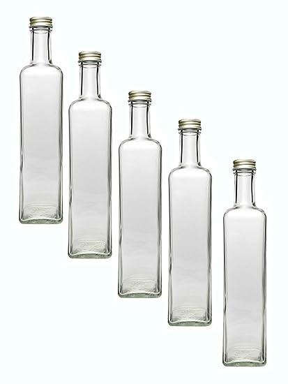 Juego de botellas de cristal (con rosca, Oro, 4 piezas, cantidad de
