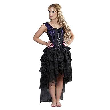49e0246a65ff5 Burleska Ophelie Satin Flock Plus Size Kleid (Violett/Schwarz) - 36 ...