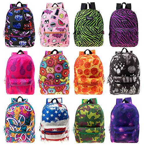 """Price comparison product image 17"""" Wholesale Kids Classic Padded Backpacks in 8 to 12 Randomly Assorted Unique Prints - Bulk Case of 24 Bookbags"""