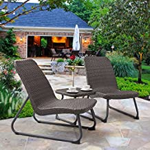 Tangkula Patio Furniture Set 3 Piece All Weahter Outdoor Garden Wicker Chair & Table Set