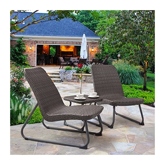 Tangkula Patio Furniture Set 3 Piece All Weather Outdoor Garden Wicker Chair & Table Set (Grey Brown) - ❀Pragmatic Aesthetics: With 2 single chairs and 1 concise table covering a classic color, it is made up with solid steel and PE wicker ensuring a long lifetime. Its trendy style and moderate-reclining backrest double the comfort for you to totally relax yourself. ❀Easy Carry: Made of lightweight rattan material, it can be carried easily and labor-efficiently to the desired place. Table with stable legs provides you to place your glasses, cups while you chatting. Its portable design is perfect for a small deck, patio, balconies, apartment or terrace. ❀Added Decorative Values: Its compact structure and beautiful texture can surprisingly highlight your patio or poolside deco, perfect for a small deck, patio, balconies, apartment or terrace. It can well entertain your guests or friends to enjoy a free chat. - patio-furniture, patio, conversation-sets - 618ZPP2oZRL. SS570  -