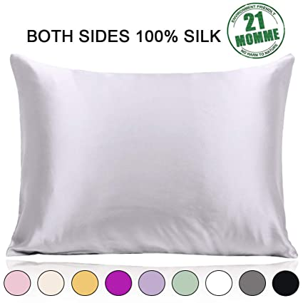 100% Pure Mulberry Silk Pillowcase Standard Size 21 Momme 600 Thread Count for Hair and Skin With Hidden Zipper, Hypoallergenic Soft Breathable Both ...