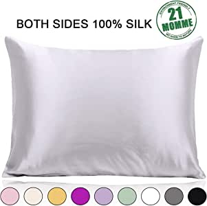 (Standard, Silver Grey) - 100% Pure Mulberry Slip Silk Pillowcase Standard Size 21 Momme 600 Thread Count for Hair and Skin With Hidden Zipper, Hypoallergenic Soft Breathable Both Sides Silk Pillow Case, Silver Grey