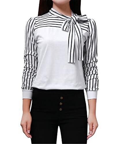 Mujeres Corbata Rayas Camisetas De Manga De Cuello Redondo Sexi Slim T Shirt Blusas Camisas Sweatshi...