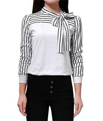 BESTHOO Mujer Camiseta Elegantes con Corbata Blusa Mangas Largas ...