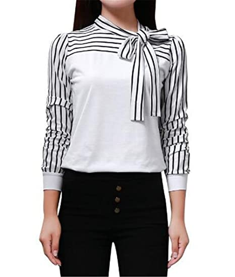 BESTHOO Mujer Camiseta Elegantes Con Corbata Blusa Mangas Largas Casual  Elegante A Rayas Hipster Blouses T Shirt  Amazon.es  Ropa y accesorios f66c315ebd18