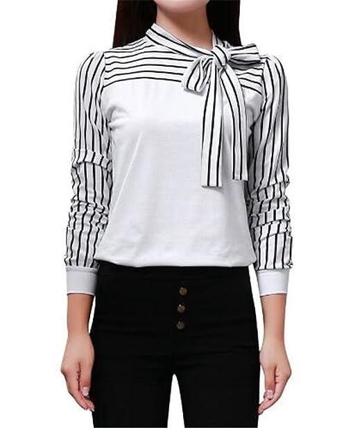 Mujeres Corbata Rayas Camisetas De Manga De Cuello Redondo Sexi Slim T Shirt Blusas Camisas Sweatshirt