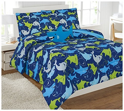 Twin & Full 6 Pcs or 8 Pcs Comforter/ Coverlet / Bed in Bag Set with Toy (Twin, Green Blue Shark)