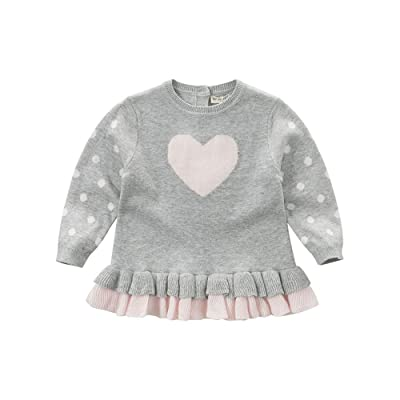 DAVE & BELLA Baby Girl Pullover Sweaters Cotton Infant Polka Dot Pattern Pink Heart 12M-6T