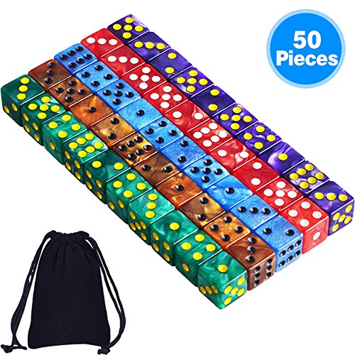 AUSTOR 50 Pieces 6- Sided Dice Set, 5 x 10 Pearl Colors Square Corner Dice with Free Velvet Pouches for Tenzi, Farkle, Yahtzee, Bunco or Teaching Math Bunco Dice Set