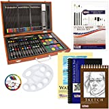 US Art Supply 82 Piece Deluxe Art Creativity Set in Wooden Case with BONUS 20 additional pieces - Deluxe Art Set