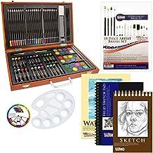 US Art Supply 82 Piece Deluxe Art Creativity Set in Wooden Case with BONUS 20 additional pieces - Deluxe Art Set