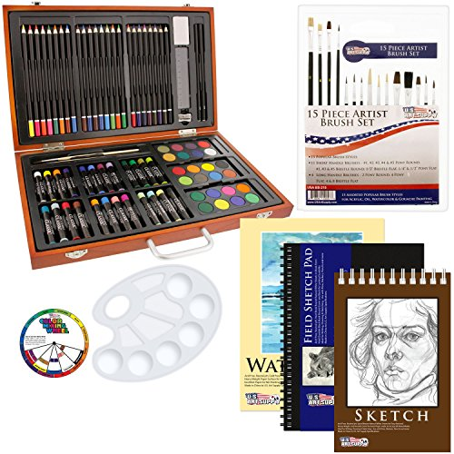US Art Supply 82 Piece Deluxe Art Creativity Set in Wooden Case with BONUS 20 additional pieces - Deluxe Art Set (Deluxe Art)