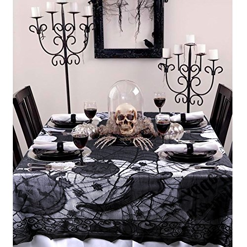 OurWarm 60 x 80 Inch Black Ghosts Halloween Lace Table Cloth Cover for Halloween Decorations -