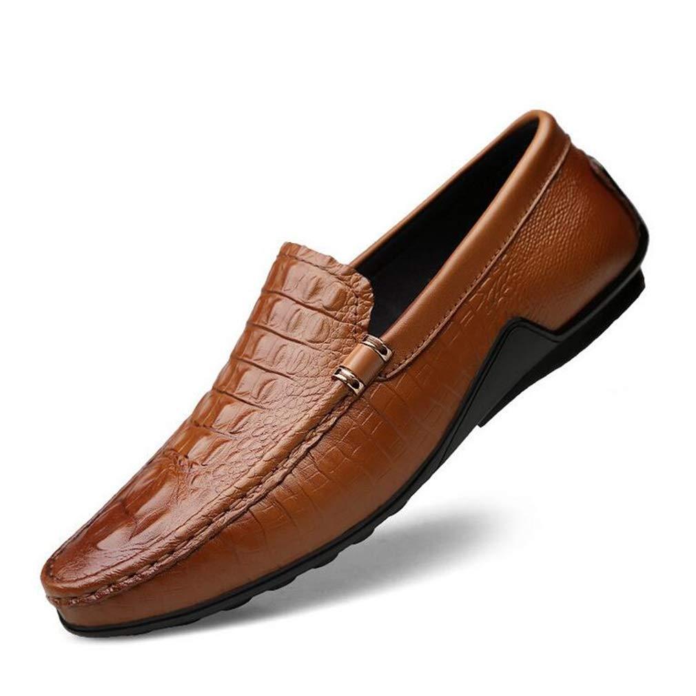 Hy Herren Freizeitschuhe 2019 Frühjahr Neue Lederschuhe Müßiggänger und Slip-Ons Lazy schuhe Peas Schuhe Slip-Ons Driving Schuhe (Farbe   Braun Größe   36)