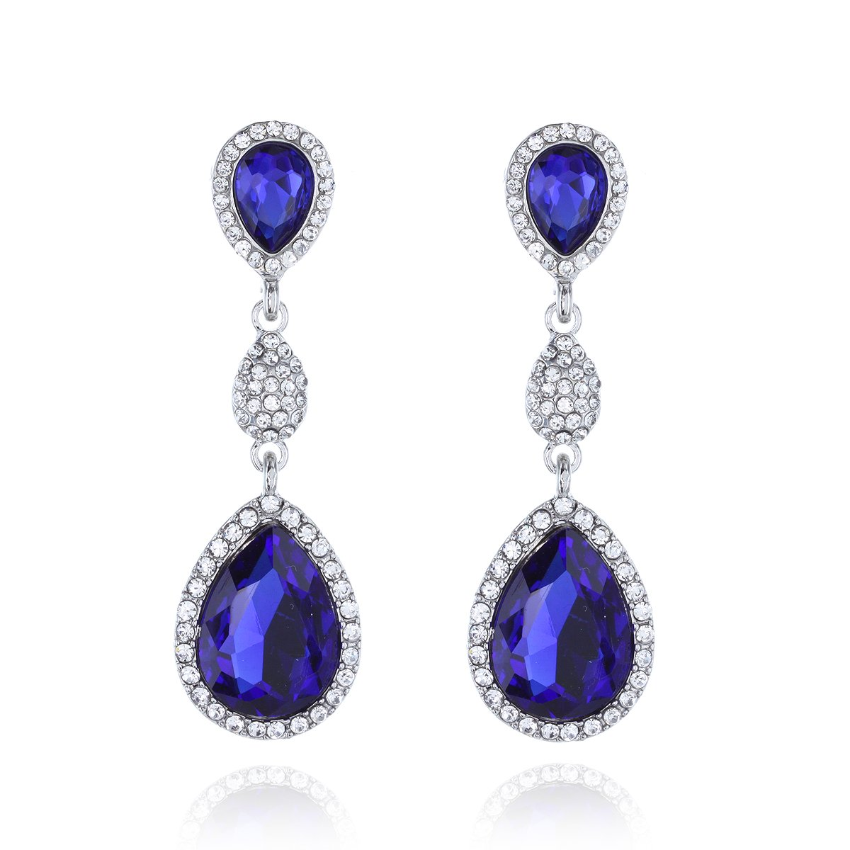 Bridal statement Jewelry Halo Tear Drop Dangle Austrian Crystal Accented Earrings in Royal Blue