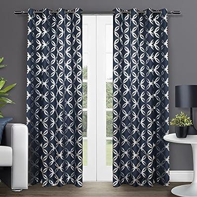 Exclusive Home Modo Metallic Geometric Window Curtain Panel Pair with Grommet Top