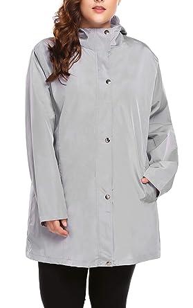 bc9dfa88bbb Womens Plus Size Lightweight Windbreaker Raincoat Travel Rain Jacket  Windproof Hiking Portable Waterproof Coat